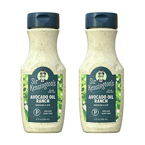 Sir Kensington's Ranch Dressing and Dip, Keto Diet & Paleo Diet Certified, Dairy Free, Non- GMO Project Verified, Shelf-Stable, Avocado Oil Ranch, 9 oz (Pack of 2)