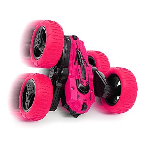 CMJ RC Cars 360 Spin Attack Stunt RC Car Electric Race Stunt Car, doble cara 360 ° Rolling Rotation RC 4WD High Speed Off Road para 3 4 5 6 7 8-12 años de edad juguetes para niños (rosa)