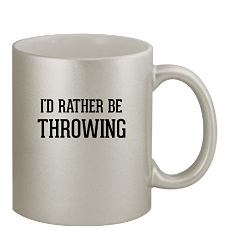 I'd Rather Be THROWING - 11oz Silver Coffee Mug Cup, Silver
