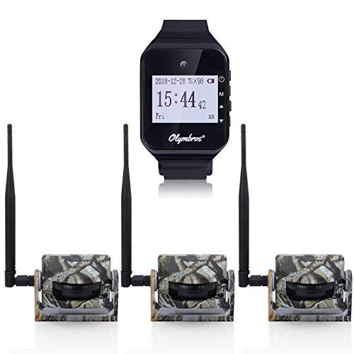 Olymbros Cámara de Caza 16MP 1080P IP66 Impermeable 24 LED de IR Invisible 2.4 '' LCD Visión Nocturna hasta 20m para Fauna Seguridad Hogar Mascota Animal