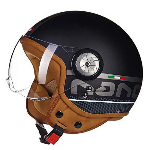 Casque moto hommes et femmes demi casque casque de locomotive de voiture électrique rétro casque (Couleur : B-M(54-56cm))