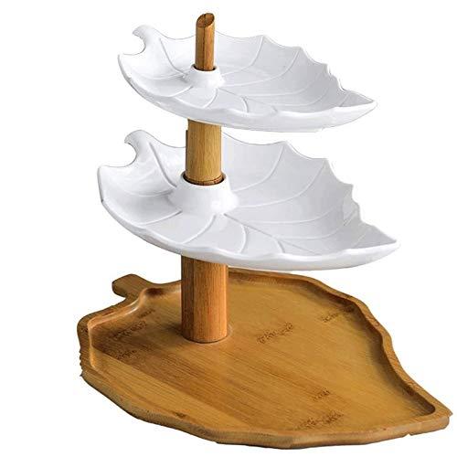 Fruitschaal, Nordic Original Design Ceramic Partij Plaat van het Diner, Buffet fruitschaal, Cake en dessert Drie-tier Spies plaat, met Rack kan worden gedraaid
