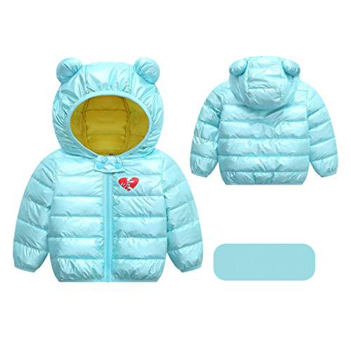 Livoral Kinder Jungen Mädchen Wintermäntel Jacke Kinder Reißverschluss Dicke Ohren Schnee Kapuze Outwear(B-Minzgrün,80)