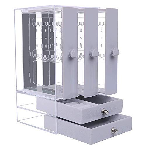 Caja Pendientes Caja Almacenamiento Joyería Transparente de Acrilico Caja Organizador Joyas Soporte Titular de Joyería Organizador Sostenedor de Pendientes Collares Pulseras Anillos 5 Cajones Gris