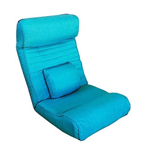 LJFYXZ Chaise de Sol Multifonction Plusieurs pièces Réglage à 5 Vitesses Confortable sans Jambes Pliable Fauteuil Facile à enlever et à Laver canapé (Couleur : Bleu)
