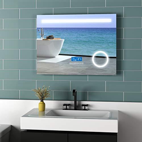 Meykoe LED badkamerspiegel verlichting 80x60x6cm spiegel met 3-voudige vergroting, klok, Bluetooth 4.1 luidspreker en sensorschakelaar lichtspiegel koud wit 6400K energieklasse A++