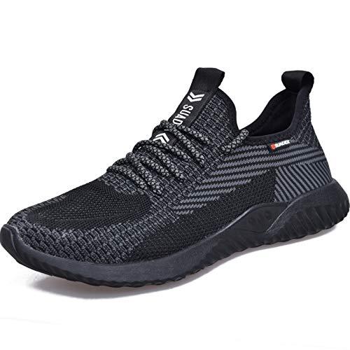 SUADEEX Sicherheitsschuhe Herren Arbeitsschuhe Damen Leicht Schutzschuhe mit Stahlkappe Schuhe Anti-Smashing Anti-Piercing Atmungsaktiv Sportlich Sneaker, 44-EU Schwarz