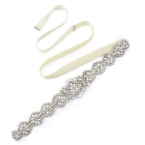 CHIC DIARY Damen Kristall Hochzeit schärpe Braut Gürtel Taillengürtel Haarband (Milchweiß)