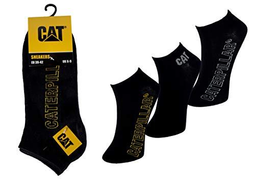 Caterpillar CAT 6 12 Paar Sneakersocken Schwarz in 2 Größen 39-42/43-46 mit neuem Design (43-46, 12 Paar Schwarz)