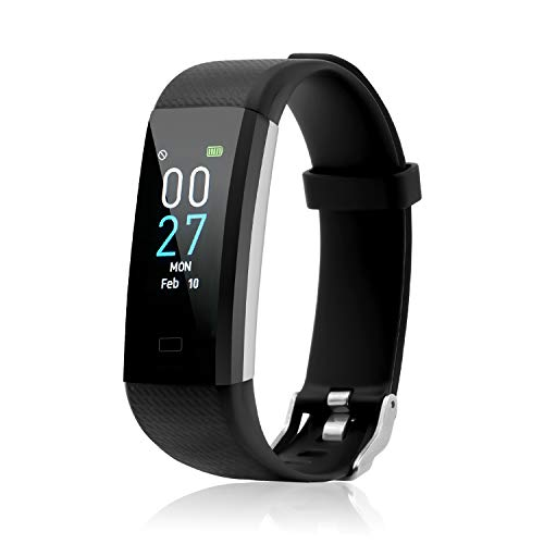 Fitness Tracker with Blood Pressure Heart Rate Sleep Monitor Temperature Monitor, Activity Tracker Smart Watch Pedometer Step Counter for iPhone & Android Phones for Kids Man Women (Black)