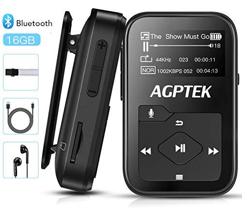 AGPTEK Bluetooth 4.2 MP3 Player 16GB Mini Sport Musik Player mit Clip(+ Sport Armband), 30 Stunden Wiedergabe Musikplayer mit FM Radio, Unterstützt bis 128 GB SD Karte