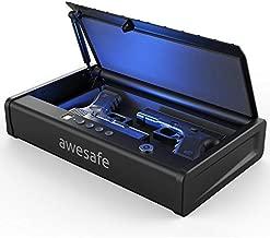 awesafe Upgraded Size Gun Safe with Fingerprint Biometric, Keypad Password and Key Lock for Two Handgun Capacity