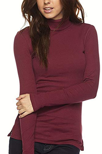 Womens Basic Stretchy Ribbed Long Sleeve Turtleneck T-Shirt Layer Tops with Side Slits, Burgundy, X-Large