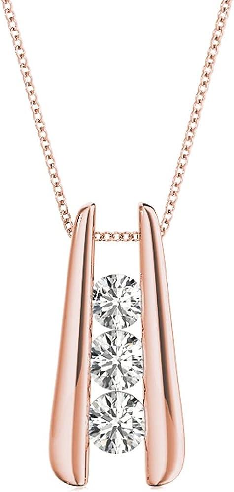 Manufacturer OFFicial shop 1-3 Carat Bar Set 3 Stone Diamond Necklace Our shop most popular Premium Pendant Colle