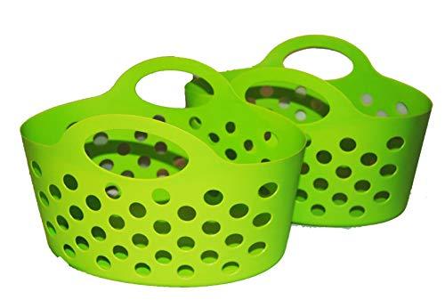 Flexible Plastic Basket Totes 2 pack (Green)