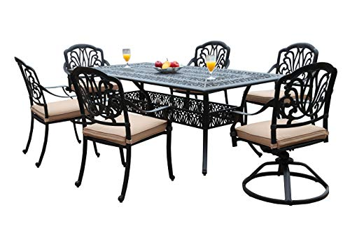 GrandPatioFurniture.com CBM Patio Elisabeth Collection Cast Aluminum 7 Piece Dining Set with 2 Swivel Rockers 4 Arm-Chairs SH217-2S4A cbm1290