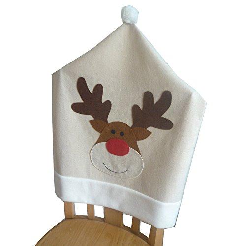Anti-DirtyWeihnachtsmütze Stuhl Stoffabdeckung 60 * 50cm Elch -Muster Tuch Hülse beiläufige Esszimmerstuhl Rückenlehne Beläge