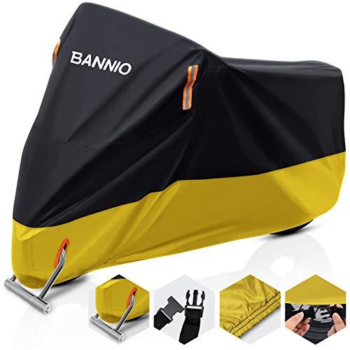 BANNIO Telo Coprimoto,210D Oxford Telo Moto,Telo Copri Scooter Resistente a Impermeabile/Polvere/Pioggia/Anti-UV,Copertura Motociclo con 1 Borsa Trasporto 245cm XXL,Giallo+Nero