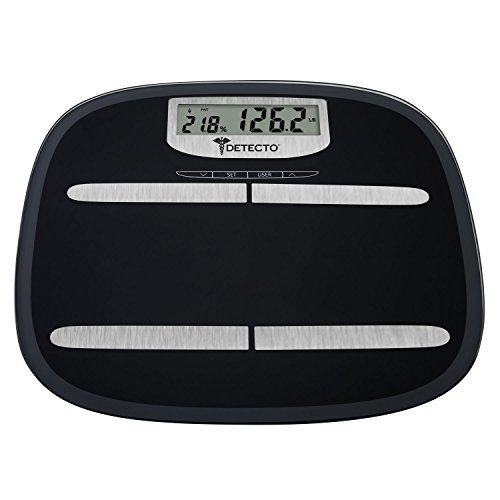 Detecto D150 8-in-1 Wide Platform Glass Body Fat Scale, 15.7 12.3&quotx 1.7&quot, Multicolor