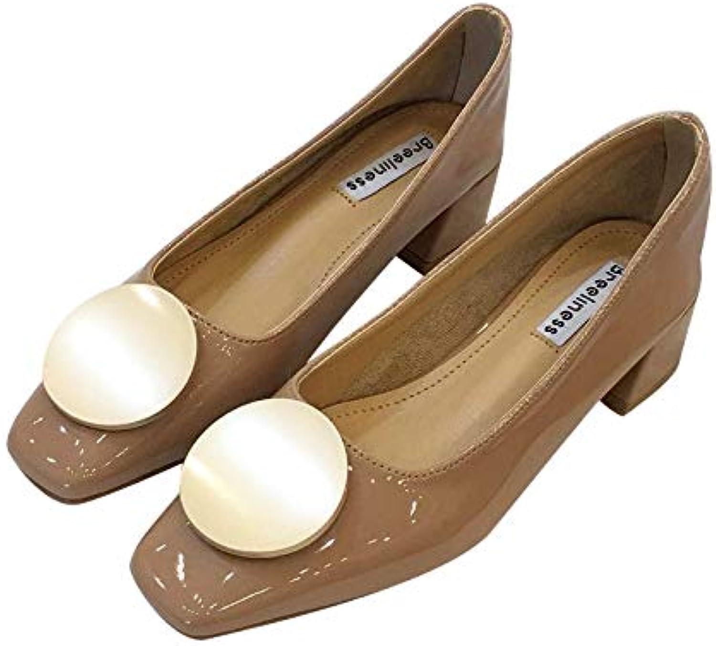 Meimeioo Women's Wide Width Flat shoes Slip on Decoration Buckle Square Toe Ballet Flats