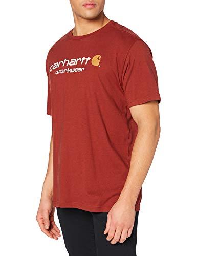 Carhartt Core Logo Short-Sleeve T-Shirt, Fired Brick Heather, Large Uomo