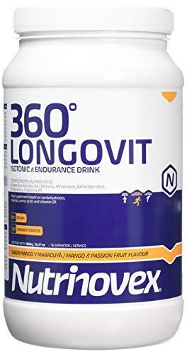 Bebida isotónica y energética Nutrinovex 360º Longovit con BCAA's, Glutamina y Magnesio (Mango maracuyá, 1000 g)