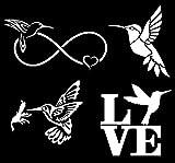 Hummingbird Decal 4 Pack: Hummingbird Infinity, Flying, Nectar, Love (White)