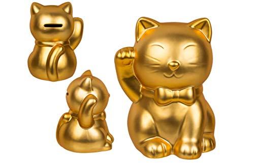 EuroDiscount Spardose Winkekatze Glückskatze Maneki Neko Goldfarben mit rechts winkender Pfote 1 Stück