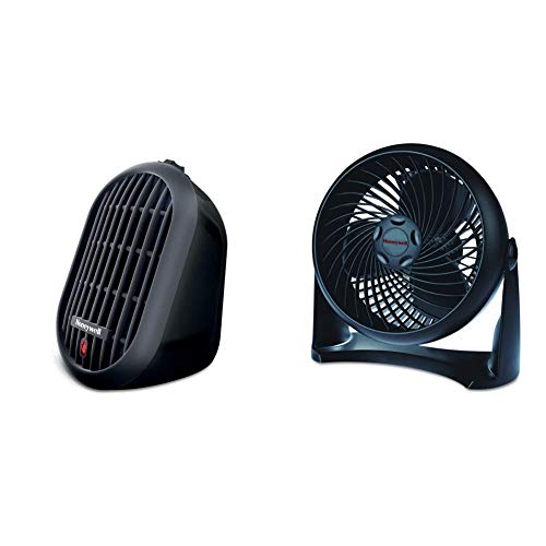 Honeywell HCE100B Heat Bud Ceramic Heater Black Energy Efficient Space Saving Portable Personal Heater With 2 Heat Settings for Home, School, Office & HT-900 TurboForce Air Circulator Fan Black, Small