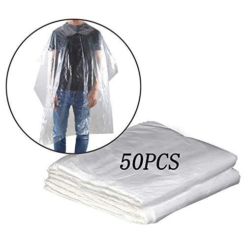 Lot de 50/100/200 capes de coiffure jetables en plastique transparent imperméable pour salon de coiffure pour adultes et enfants 50pcs