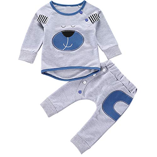 Puseky 2 unids/Set Conjuntos de Ropa de Bebé Trajes de Otoño Bebé Niños Lindo Animal Oso Imprimir Camiseta de Manga Larga y Pantalones Ropa Infantil Chándal (Color : Grey, Size : 6M-12M)