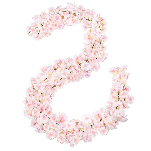 Omldggr Künstliche Kirschblüten-Girlande, zum Aufhängen, Girlande für Hochzeitskranz, Hochzeitsbögen, für Zuhause, Garten, Party, Outdoor-Dekoration (Rosa), 2 Stück