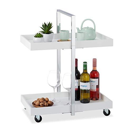 Relaxdays 10024953 Chariot de service 2 étages, Table roulante, chrome, roulettes 360°, Desserte, 75 x 60 x 34cm, argent blanc, MDF, acier, 75 x 60 x 34 cm