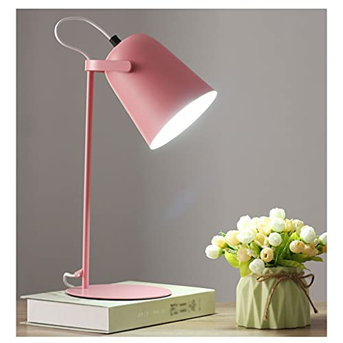 Moderno LED Lámpara de escritorio Iluminación College College Lectura Living Dormitorio Estudio de noche Negro Interior Lámpara (Color : Pink)