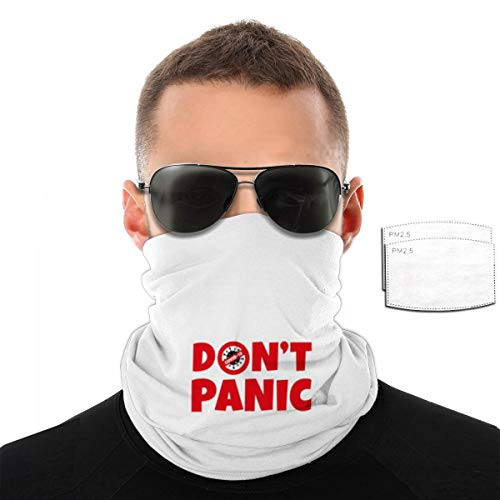 Dont Panic c-o.vi-d Stay Balaclava Headwear With Filter Seamless Rave Bandana Face Mask For Men Women Neck Gaiter Scarf