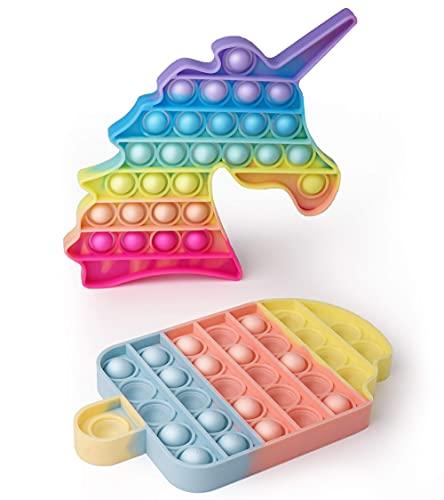 AnanBros [2er-Pack EIS+Einhorn Pop Fidget Toy Set Box, Pop Set, Push Pop Pop Bubble Fidget Toys, Baby Spielzeug, Pop Figetttoys Set für Kinder, Erwachsene, Autismus ADHS, Poppet Antistress Spielzeug