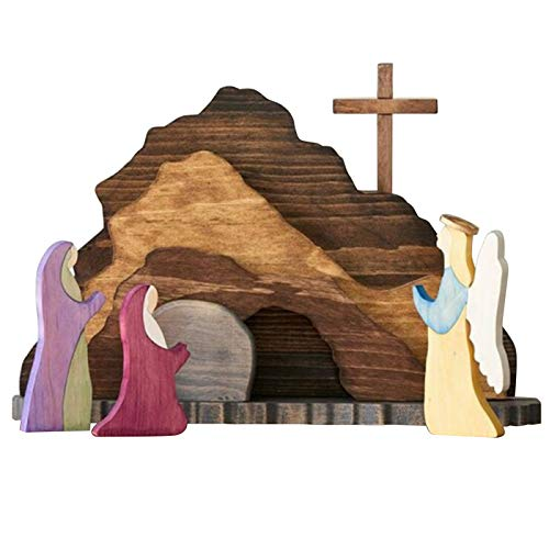 MNJM Easter Resurrection Scene Wooden Decoration Easter Decor Wooden Cross Resurrection Scene Decor Wooden Nativity Set