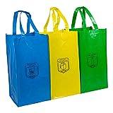 Set 3 Bolsas Reciclaje Basura Reutilizables para Papel, Vidrio y plástico Unidas Entre sí Mediante Resistentes velcros Laterales y con Asas reforzadas - 25 L