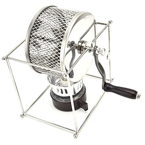 Tostador de café de manivela, tostador de café en grano Resistente al calor, temperatura de escritorio controlable con soporte rectangular para café en grano para tostar