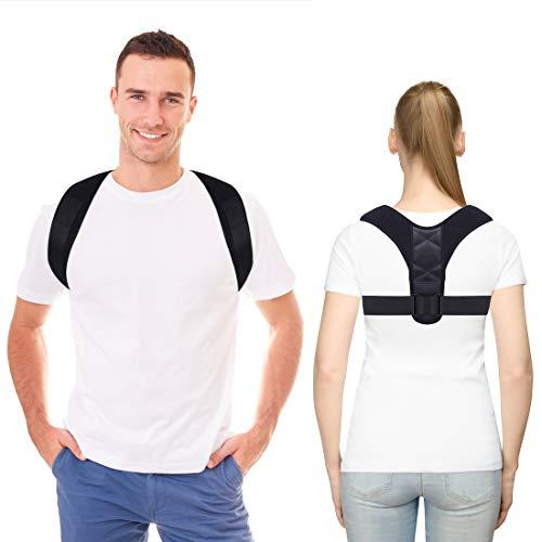 Corrector de postura para la columna vertebral, terapia física, postura para hombres o mujeres, alivio del dolor de espalda, hombros y cuello, soporte de postura para la columna vertebral, color negro