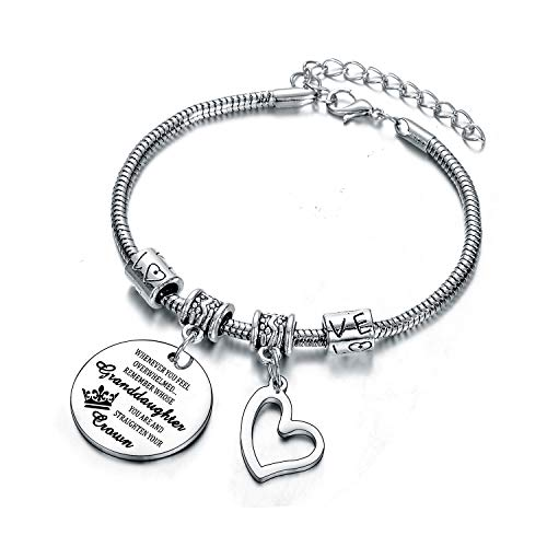 Inapirational Bracelets Whenever You Feel Overwhelmed Bracelet Family Gifts Charm Bangle Bracelets Graduation Gifts for Women Girls (Granddaugter)