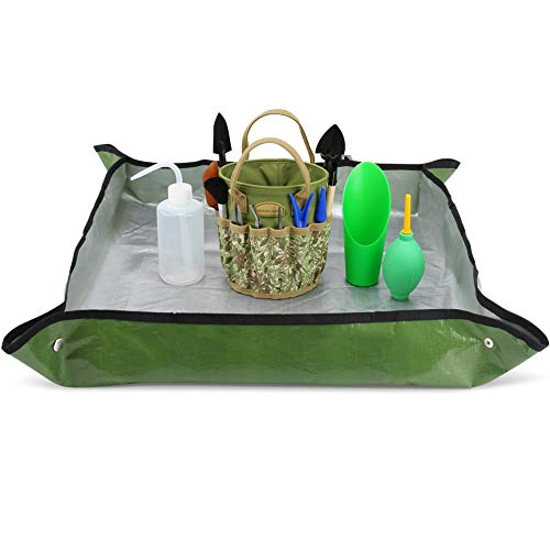 G GOOD GAIN 14 Pieces Succulent Tools Kit with Organizer Bag, Indoor Mini Garden Hand Tools Set with Carrier,Transplanting Tools Set with Tote for Bonsai Planter.Miniature Indoor Fairy Planting Care.