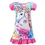 mama stadt Chemise de Nuit pour Filles Arc-en-Ciel de Licorne Pyjama Vêtements De Nuit