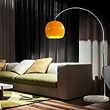 CCLIFE Lampada a Stelo, Lampada ad Arco con Base Rotonda in Marmo, Altezza Regolabile 145-220 cm, 1 x E27, max. 60 W, Colore:Arancio