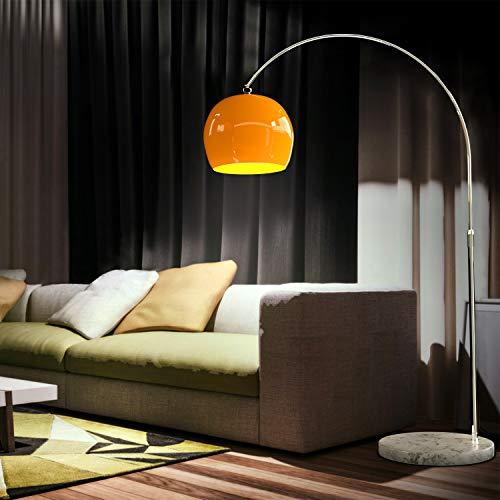 CCLIFE Lámpara curva de pie salon lampara sofa con interruptor de cable y pie,bombilla E27 de máximo 60w, Color:Naranja, Altura ajustable 130-180cm