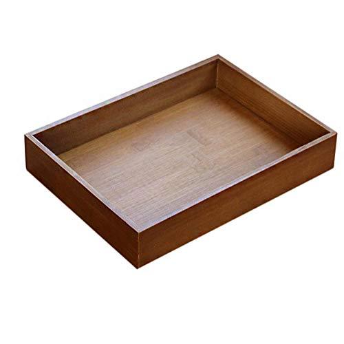 Wdoit Retro Plateau en bois rectangulaire Fruits Tasse à café Boîte de rangement de cuisine de fournitures, Bambou, l, 33 x 24.5 x 5.5 cm