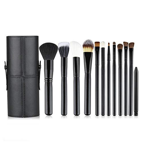 Lot de 12 pinceaux de maquillage synthétiques avec support pour pinceaux de maquillage organiseur pour fond de teint, poudre, contour des yeux, pinceaux cosmétiques pour les filles et les femmes noir