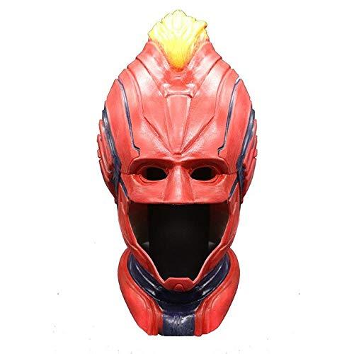 WasJmu 1 Piece 1Movie Captain Marvel Carol Danvers Cosplay Face Masks Superhero Latex Women Helmet Full Head Adult Props Halloween,Red