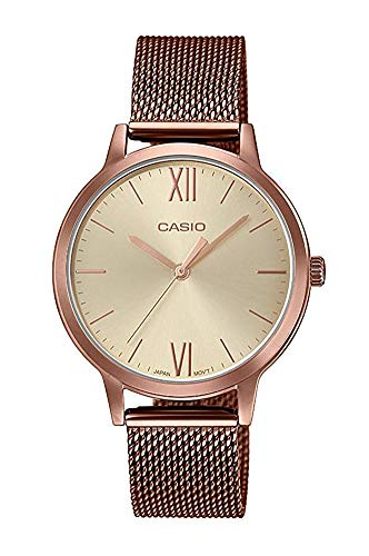 Casio Reloj Analógico para Mujer de Cuarzo con Correa en Acero Inoxidable LTP-E157MR-9AEF