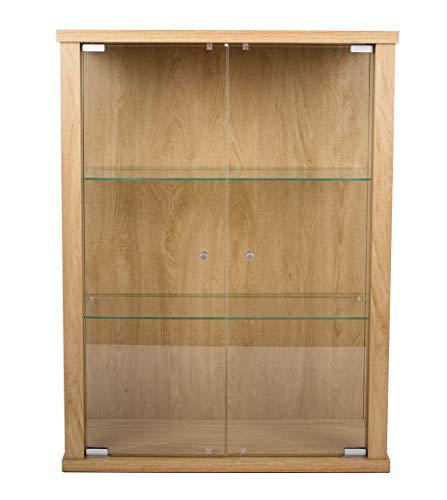 K-Möbel Glasvitrine in Winchester Eiche (80x60x25 cm) mit 2 höhenverstellbaren Glasböden aus ESG; perfekt für Sammler